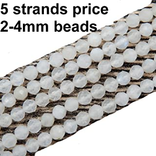 2-4mm Faceted Gemstone Beads for Jewelry Making, Sold per Bag 5 Strands Inside (Moonstone, 2mm)