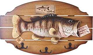 16-inch Wood Decorative Big Fish Welcome Sign Hanging Plaque with 3 Hooks,for Garden and Wall Decor