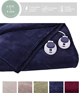 SoftHeat by Perfect Fit   Ultra Soft Plush Electric Heated Warming Blanket with Safe & Warm Low-Voltage Technology (King, Nightshadow Blue)