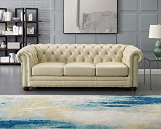 Hydeline Aliso 100% Leather Sofa Set (Sofa, Ivory)