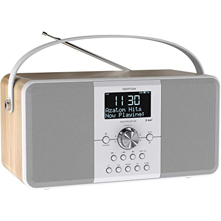 AZATOM Multiplex D2 DAB+ FM Digital Radio & Alarm Clock - Bluetooth 5.0 - Stereo Speaker - Twin Alarms - Massive Rechargeable Battery - USB Mobile Phone Charging - Premium Sound (Oak)