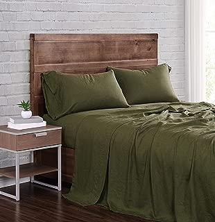 Brooklyn Loom Flax Linen Sheet Set, King, Olive Green