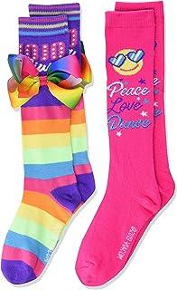 JoJo Siwa Girl's 2 Pack Knee High, Rainbow Multi, Fits Sock Size 6-8.5 Fits Shoe Size 7.5-3.5
