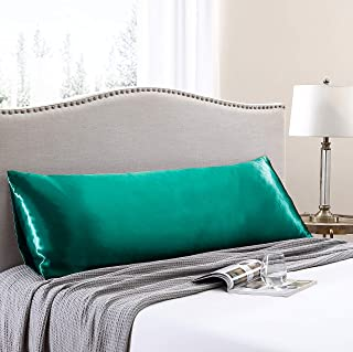 Love's cabin Body Pillow Cover, 20x54 inches Dark Green Soft Satin Body Pillow case with Envelope Closure, Silky Slip Cool...