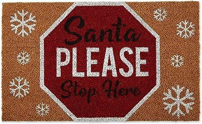 """DII Natural Coconut Coir Holiday Season Doormat, 18x30"""", Santa Please Stop"""