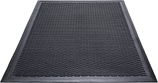 Guardian Clean Step Scraper Outdoor Floor Mat, Natural Rubber, 3'x5', Black, Ideal for any outside entryway, Scrapes Shoes Clean of Dirt and Grime