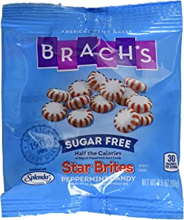 Brach's Sugar Free Star Brites Peppermints Hard Candy, 3.5 Ounce Peg Bag (Pack of 12) Individually Wrapped