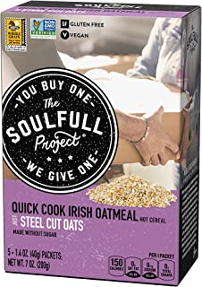 The Soulfull Project Instant Oatmeal Packets, Irish Oats, 5 Individual Servings (Pack of 6), Non GMO, Glute...
