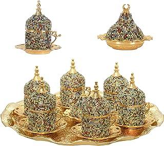 27 Pc Turkish Greek Arabic Coffee Espresso Cup Saucer Swarovski Crystal Set (Mix Color)