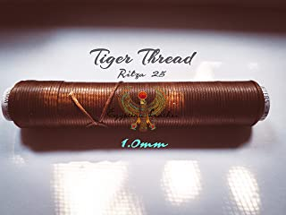 1.0mm Ritza 25 Tiger Thread - Braided Polyester Thread - Waxed for Leather Hand Sewing - by Julius Koch - Made in Germany - Custom Spools by Egyptian Thread Company, 50 Meters, Mid-Brown - JK7