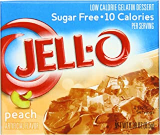 JELL-O Peach Sugar Free Gelatin Dessert Mix (0.30 oz Boxes, Pack of 24)