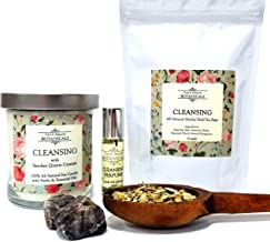 Cleansing Pure & Natural Ritual Kit 100% Natural & Non-Toxic for Purification, Negativity & Spiritual Cleansing with 1 Candle,a Roll-On Perfume & 3 Herbal Tea Bath Bags Pagan Hoodoo Conjure Wiccan