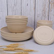 Max n' Mia Wheat Straw Dinnerware Set (16 pcs) Beige-Unbreakable, Microwave and Dishwasher Safe, Lightweight, Reusable, Ec...