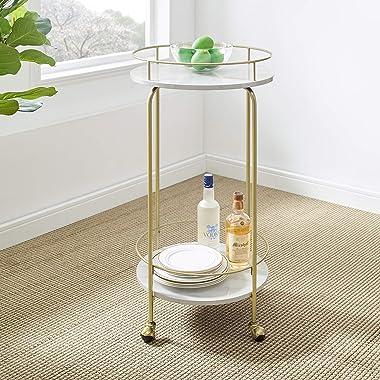 Walker Edison Furniture Company Glam Metal Bar Wheels Kitchen Storage Serving Cart, 35 Inch, Marble/Gold