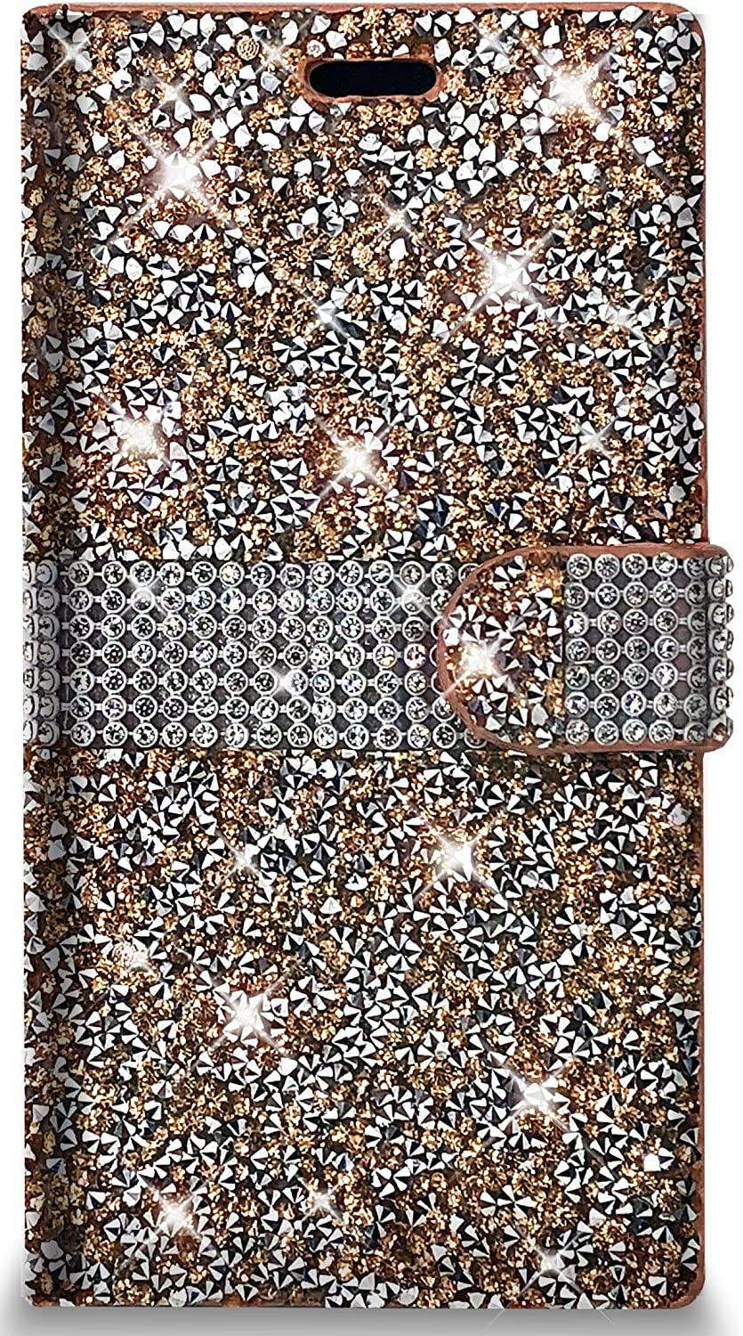 PinyCase Bling Rhinestone Wallet Case for Apple iPhone 12 Mini (5.4 inch) Glitter Stand Sparkle Crystal Diamond Flip Card Slot Luxury Girl Women Phone Cover Fit 12Mini (iPhone 12 Mini, Rose Gold)