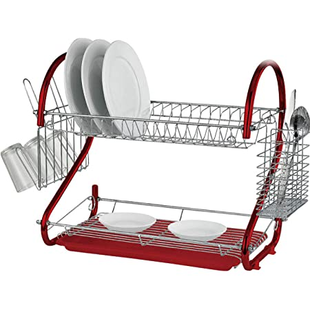 "RD Royal Cook Escurridor de Trastes, platos. 2 niveles 16"" 41 cm, Cromado rojo, Charola inferior de escurrimiento"