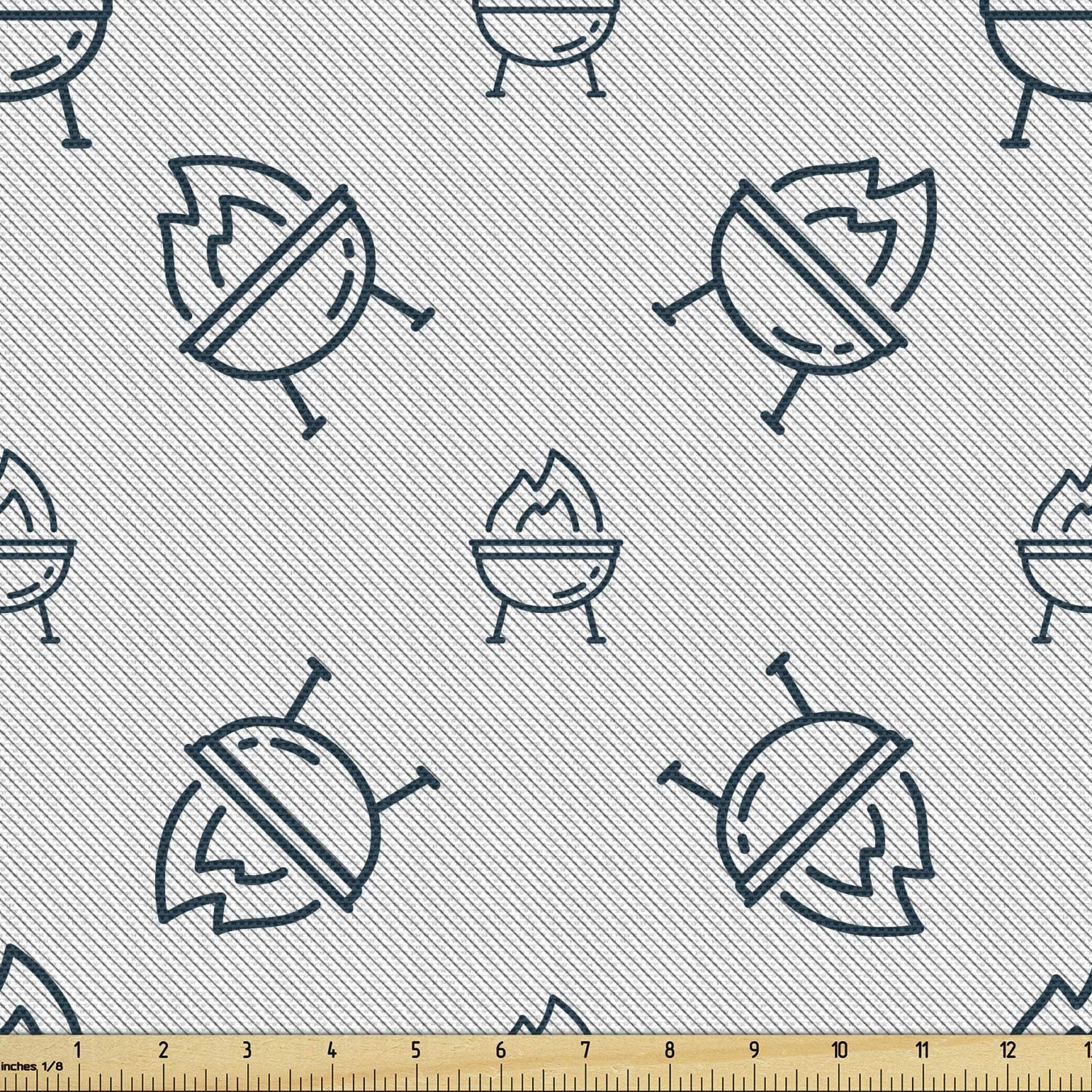 Ambesonne Superior Fashionable BBQ Signs Fabric by The Grill Drawings Yard Pattern o