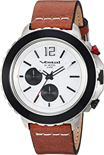 Vestal 'Yacht' Quartz Stainless Steel and Leather Watch, Color Brown (Model: YAT44C02.BRWH)