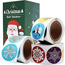 "Cualfec Christmas Stickers Roll Winter Holiday Stickers 1.5"" Round - 21 Designs Assortment 630 Stickers"