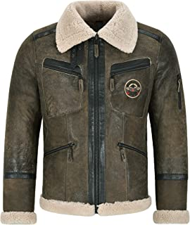 Men's B3 Shearling Sheepskin Leather Jacket Vintage Beige Shearling Flying RAF K-21241