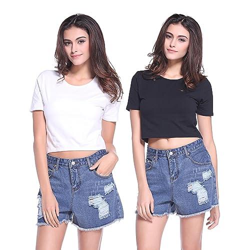 Best Dog Dad Ever Womens Summer Short Sleeve Print Crop Top T Shirt Teen Girls