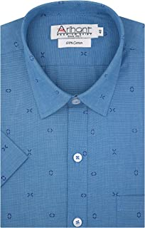 Arihant GHPC Printed Self Design 100% Cotton Half Sleeves Regular Fit Formal Shirt for Men