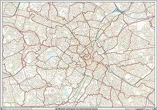 Birmingham City Centre Postcode Sectors Wall Map (C4) - 47