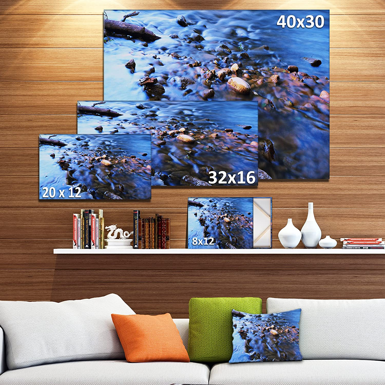 Design Art Pt10975 40 20 Rock Blue River Panorama Oversized Beach Canvas Artwork 40x20 40x20 Posters Prints