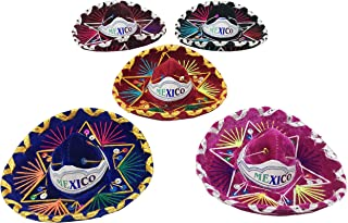 5 Pack Mini Mexican Sombreros, Assorted Colors Mariachi Hats Used as Fiesta Mexicana Decoration Supplies, Charro Hats Made of Colored Threads, Suede / Gamuza and Sequins / Lentejuelas.