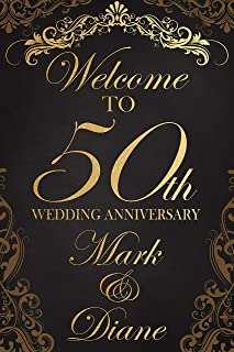 Fancy Royal Golden Wedding Anniversary Sign, Wedding Anniversary Banner, Welcome to Our Wedding Anniversary Party, Custom Any Year Anniversary Poster, Party Supply Poster Print Size 36x24, 18x24