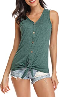 Women's Tie Knot Button Down Shirts Sleeveless Shirt Tank Top Loose Casual Blouse S-XXL