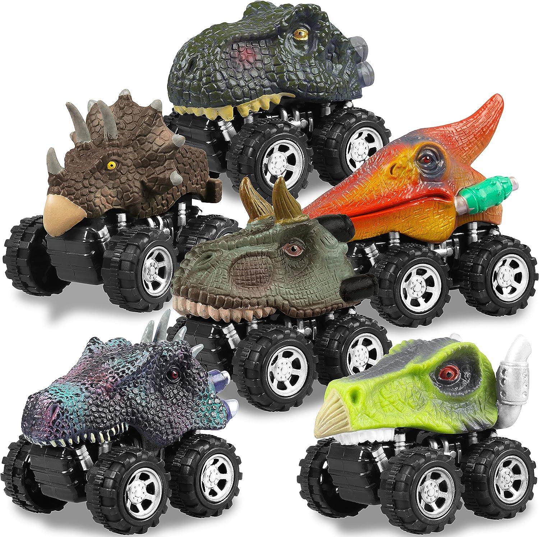 Dinosaur Toys Pull Back Cars for Boy, Dino Car Toy Set for Kids,