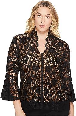 Karen Kane Plus - Plus Size Lace Flare Sleeve Top