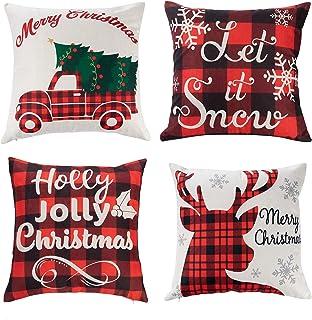 JOYIN Christmas Buffalo Plaid Pillow Covers with Rustic Farmhouse Design (4 Pack), 18x18 Inch Christmas Throw Pillow Case ...