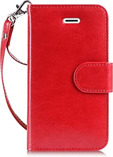 FYY Case for iPhone SE/iPhone 5S/iPhone 5, [Kickstand Feature] Luxury PU Leather Wallet Case Flip Folio Cover with [Card Slots][Wrist Strap] for iPhone SE/iPhone 5S/iPhone 5-Red