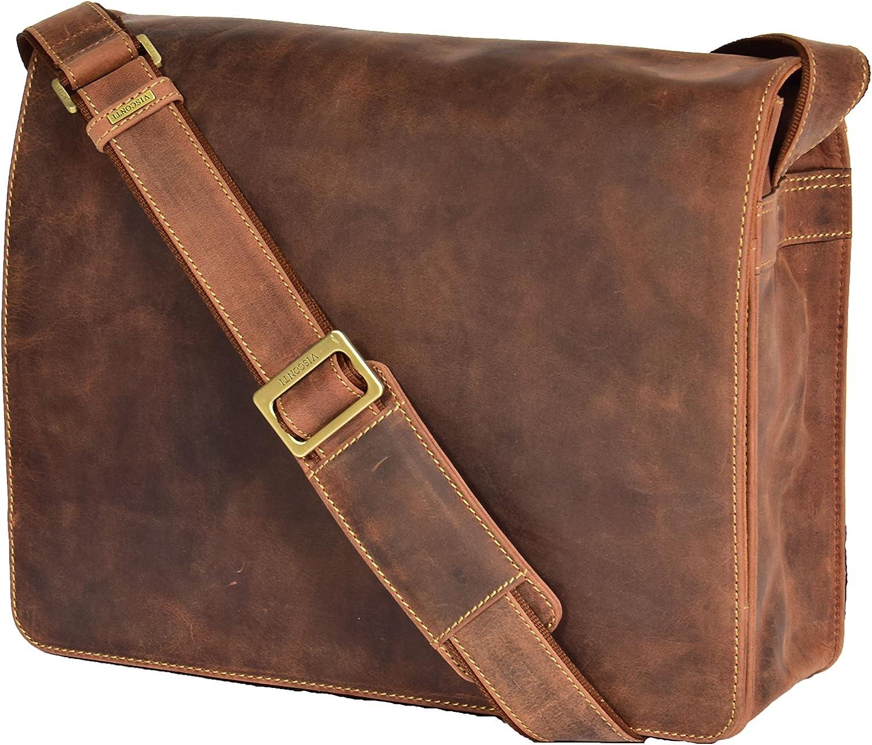 A1 FASHION GOODS Mens Messenger Tan Leather Bag Vintage A4 Laptop Casual Record Bag - A48