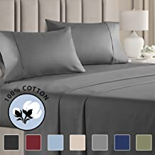 100% Cotton Queen Sheets Dark Grey (4pc) Silky Smooth, Cooling 400 Thread Count Long Staple Combed Cotton Queen Sheet Set – 400TC High Thread Count Queen Sheets - Queen Bed Sheets All Cotton