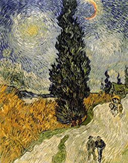 Sumilace Poster Painting Vincent Van Gogh Art Prints (Road with Cypress and Star, 1890) Great Home, Office, Room - 23