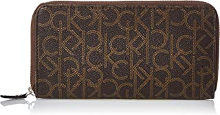 Calvin Klein Zip Around Wallet for Women-Chocolate