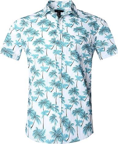 SOOPO Camisa Hawaiana para Hombre Shirt de Manga Corta Estampados de Palmeras, Barcos, Flores, Regular Casual, Camiseta Bonita y Cómoda para Verano, ...