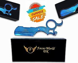 Titanium Blue Barber Ring Razor by Focus World   Professional Finger Insert Handle Barber Razor  Straight Cut Throat Wet Shaving Razor   Barber Ring Straight Razor