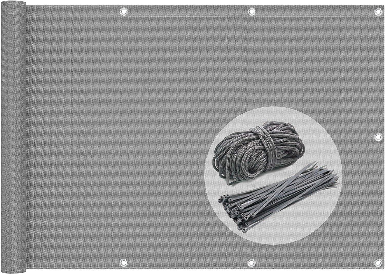 VOUNOT Pantalla Protección de Privacidad para Balcón Jardín, HDPE, Protección UV, con Cuerda y Bridas, 90x500 cm, Gris