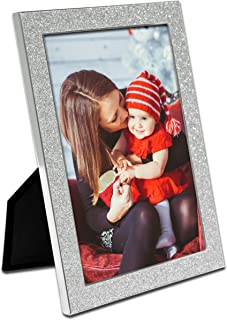 MIMOSA MOMENTS Mirror Silver Metal Christmas Picture Frame with Silver Glitter Border (Silver & Silver Glitter, 5x7)