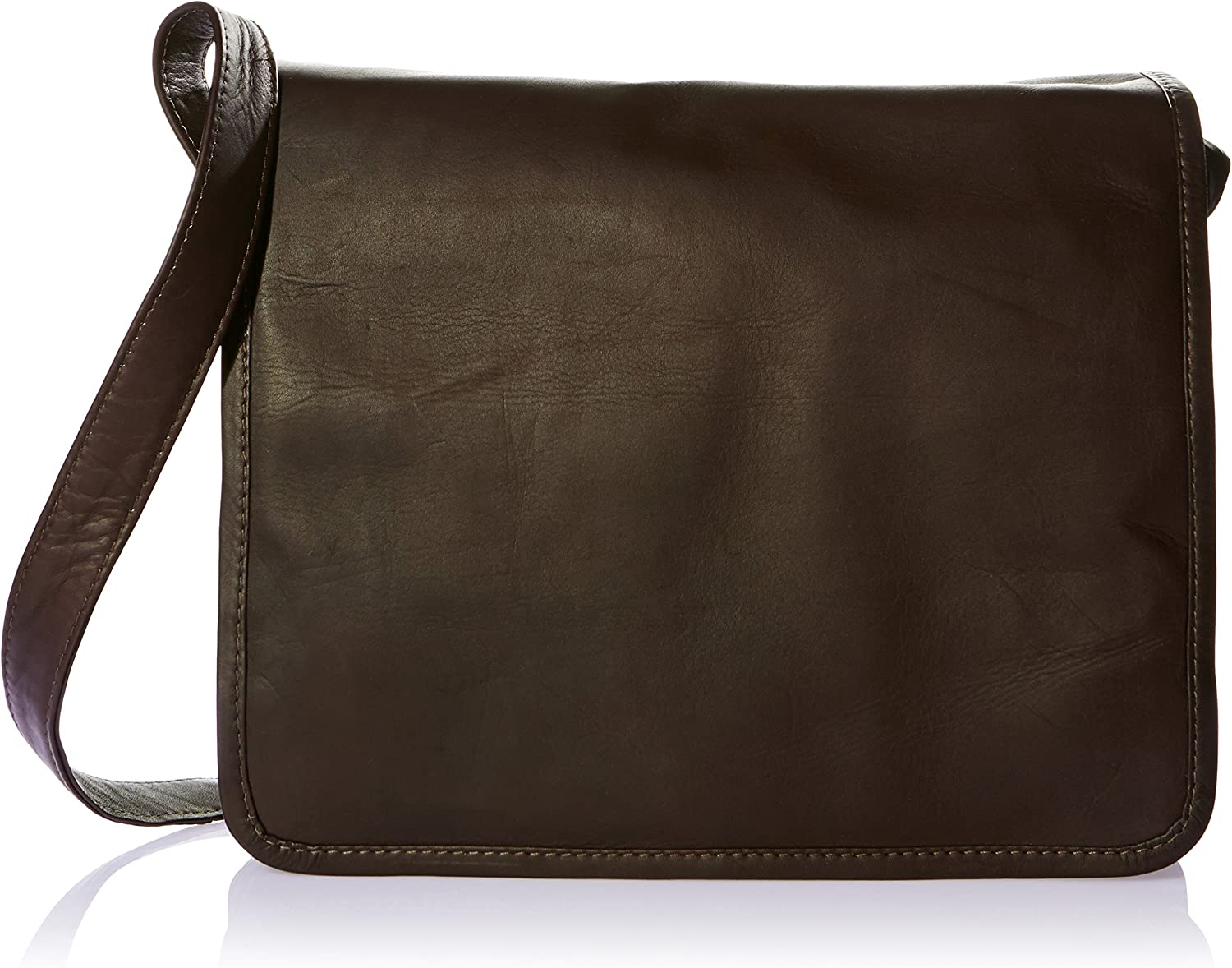 Piel Leather Large Handbag with shopping Size Organizer Chocolate One New sales