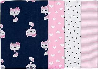 "Gerber Baby Girls' 4-Pack Receiving Blanket, Pink Fox, 30"" x 30"""