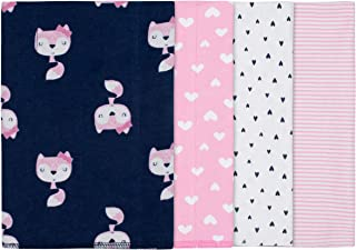 GERBER Baby Girls' 4-Pack Receiving Blanket, Pink Fox, 30
