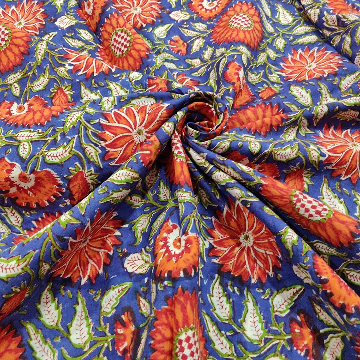 Block Print Cotton Fabric Cotton fabric by the 5 yard  Indian Cotton Fabric for summer dresses Quilting Fabric Hand screen Printed Fabric