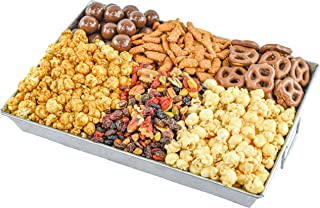Gourmet Snack Gift Basket with Chocolate Covered Malt Balls and Pretzels, Caramel Popcorn, English Toffee Popcorn, Superst...