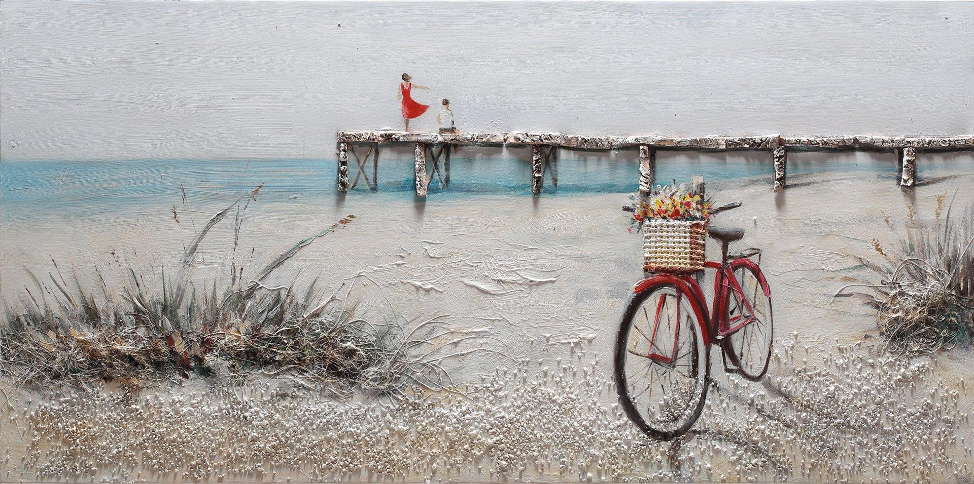 Bubola Cuadro Tricolor pintado a mano playa bicicleta playa Puente de relieve dipiw628 60 x 120: Amazon.es: Hogar