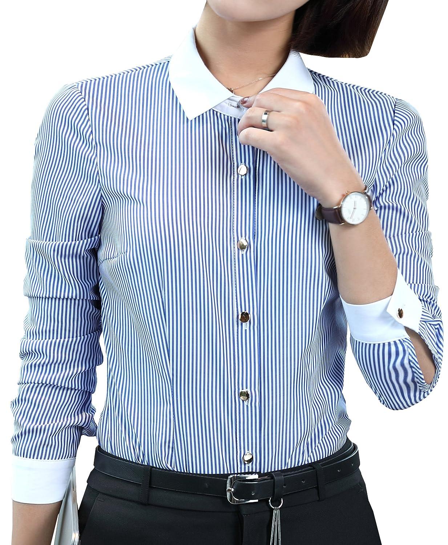 Foucome ワイシャツ レディース ブラウス 長袖 シャツ オフィス 事務服 ビジネス ストライプ